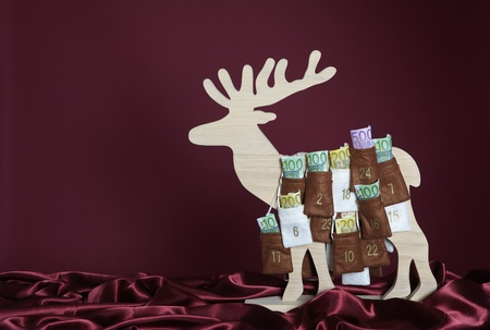 onehundred: Euro bills in Advent Calendar Stock Photo