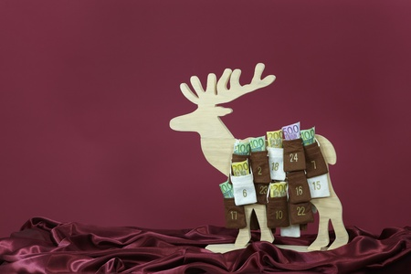 Euro bills in Advent Calendar Stock Photo