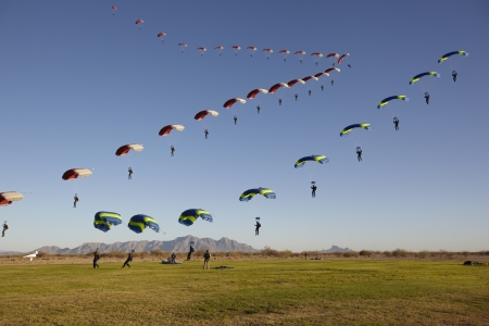 Two Skydivers approaching Landing Zone