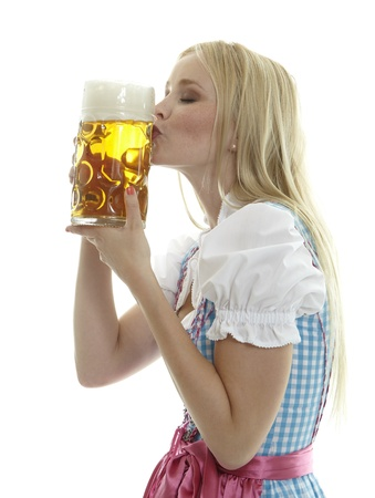 Woman kisses Beer Mug photo