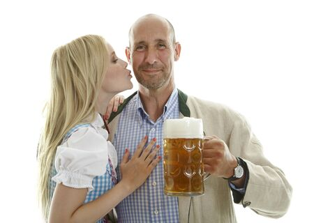 skoal: Woman in Dirndl and Man with Beer Mug