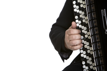 Accordion Player in front of white background