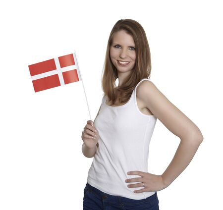 Attractive woman shows flag of Denmark and smiles in front of white background Stock Photo - 13806002