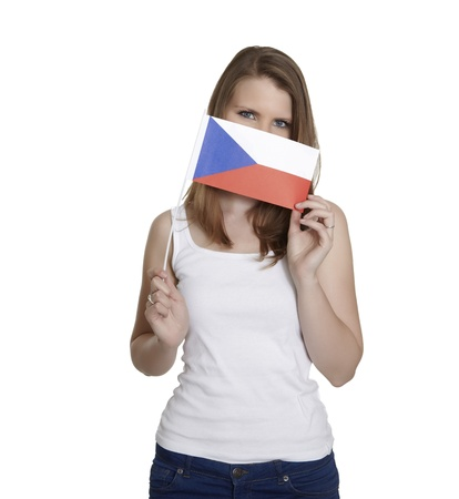 czech women: Attractive woman hides her face behind Czechia flag in front of white background