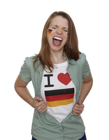 Attractive woman with german fan t-shirt screams in front of white background