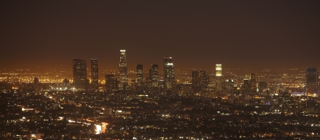 Sunset of Downtown Los Angeles skyline photo