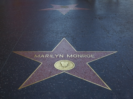 HOLLYWOOD - MARCH 2: Marilyn Monroes star at the Walk of Fame on March 2, 2012. 2012 is the 50th anniversary of Monroes death on 5th of August 1962.