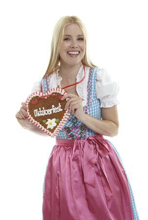 Woman with German Lebkuchen heart photo