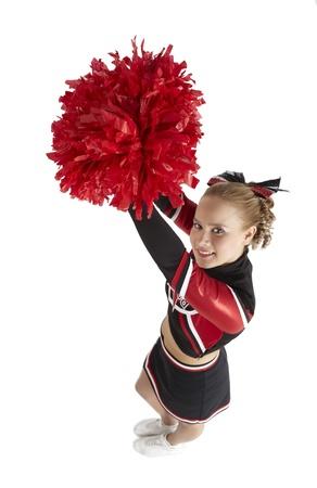black cheerleader: Cheerleading Pose view from above Stock Photo