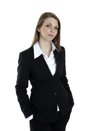 spokesperson: Portrait of a severe business woman on white background Stock Photo