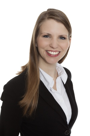 spokesperson: Portrait of a smiling young businesswoman on white background Stock Photo