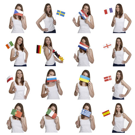 Attractive woman shows european flags photo