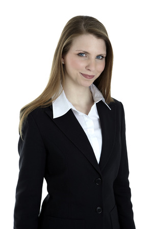 Portrait of a business woman smiling on white background photo