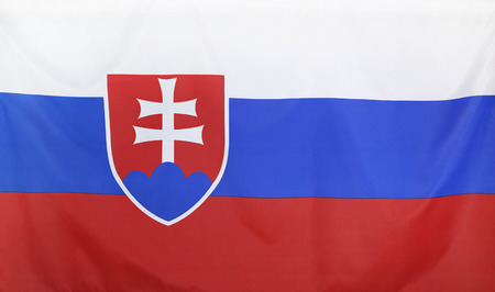 slovakia flag: Slovakia Flag real fabric seamless close up