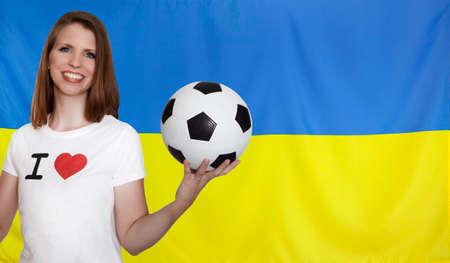 ukraine flag: Ukraine Flag with female soccer fan