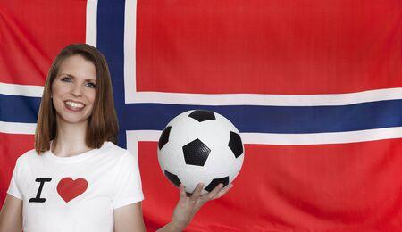 female soccer: Norway Flag with female soccer fan