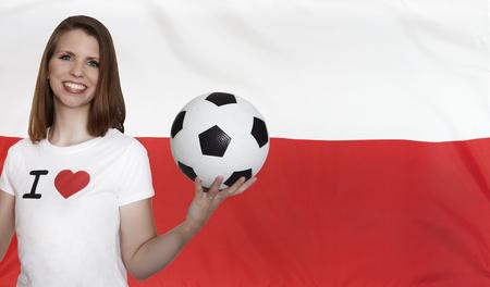 female soccer: Poland Flag with female soccer fan Stock Photo
