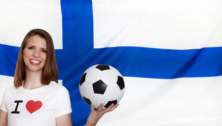 finland flag: Finland Flag with female soccer fan