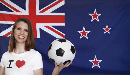 new zealand flag: New Zealand Flag with female soccer fan