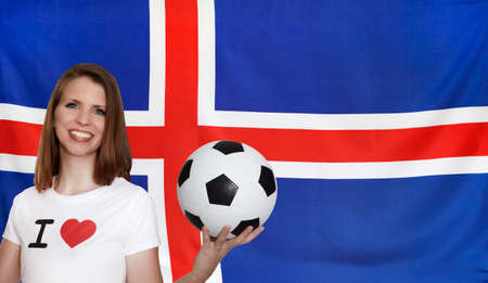 iceland flag: Iceland Flag with female soccer fan Stock Photo