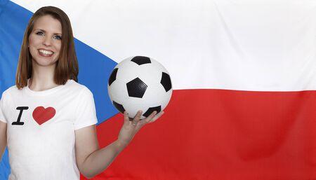 female soccer: Czech Republic Flag with female soccer fan Stock Photo