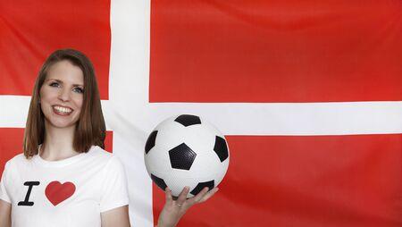 female soccer: Denmark Flag with female soccer fan Stock Photo