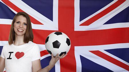 female soccer: Honduras Flag with female soccer fan