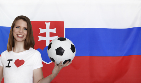 Slovakia Flag with female soccer fan