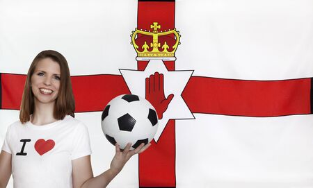 northern ireland: Northern Ireland Flag with female soccer fan