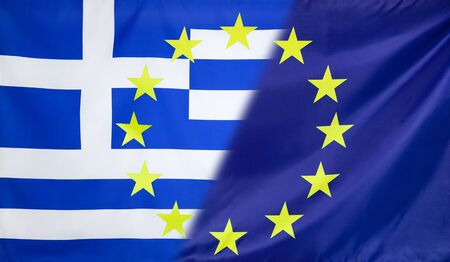 diagonally: Greece and European Union relations concept with diagonally merged flags Stock Photo
