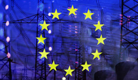merged: Concept Technology Environment, Flag of Europe merged with technology, high voltage power poles and electrical power plant cooling towers