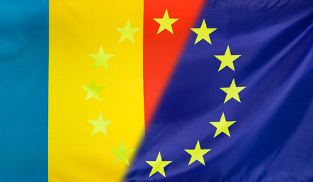 merged: Slovakia and European Union relations concept with diagonally merged flags Stock Photo