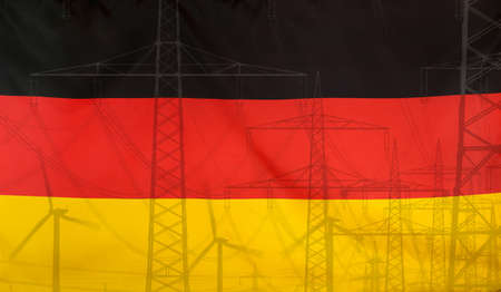 merged: Concept Energy Distribution, Flag of Germany merged with high voltage power poles