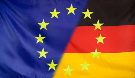 relations: Germany and European Union relations concept with diagonally merged flags