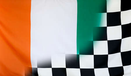 winning concept: Winning concept consisting of the Ivory Coast and checkered goal flag merging each other Stock Photo