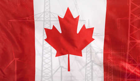 merged: Concept Energy Distribution, Flag of Canada merged with high voltage power poles Stock Photo