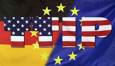 investment real state: Concept TTIP - Transatlantic Trade and Investment Partnership. United States, Germany and European Union real fabric flags combined in TTIP text.