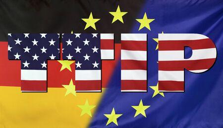 investment real state: Concepto TTIP - Transatlantic Comercio y Sociedad de Inversión. Estados Unidos, Alemania y la Unión Europea banderas de tela reales combinados en el texto TTIP.