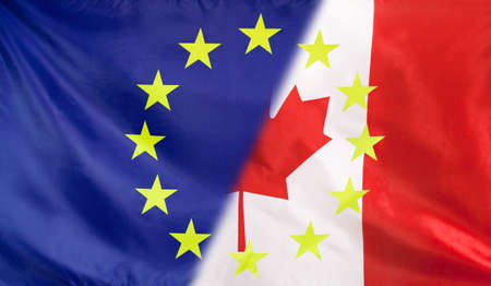 diagonally: Canada and European Union relations concept with diagonally merged flags