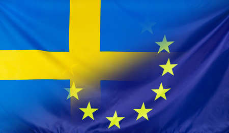 merged: Sweden and European Union relations concept with diagonally merged real fabric flags