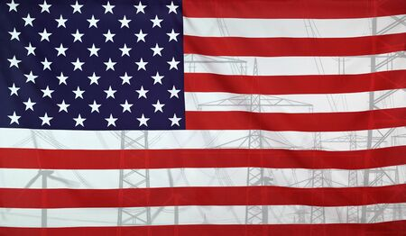merged: Concept Energy Distribution, Flag of USA merged with high voltage power poles