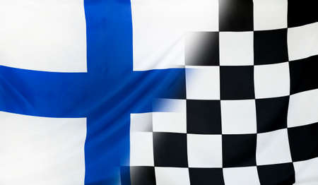 merging: Winning concept consisting of the Finland and checkered goal flag merging each other