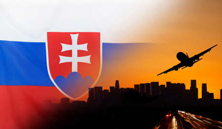 merged: Travel and transport concept with skyline silhouette, highway traffic and airplane at sunset merged with real fabric flag of Slovakia