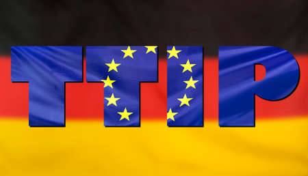 investment real state: Concept TTIP - Transatlantic Trade and Investment Partnership. Germany and European Union real fabric flags combined in TTIP text.