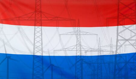 merged: Concept Energy Distribution, Flag of Netherlands merged with high voltage power poles