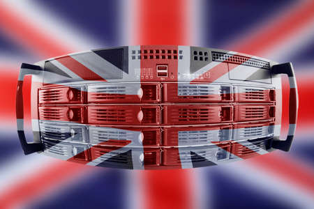 Concept Server with the Flag of Great Britain for use as local or country internet and hardware security image idea Stock Photo