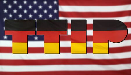 treaty: Concept TTIP - Transatlantic Trade and Investment Partnership. United States and Germany real fabric flags combined in TTIP text.
