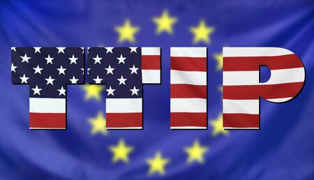 investment real state: Concept TTIP - Transatlantic Trade and Investment Partnership. United States and European Union real fabric flags combined in TTIP text.