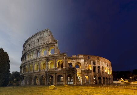 transition: Colosseum Amphitheater in Rome, Italy twilight and sunset transition concept Stock Photo