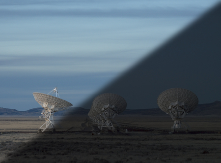 Very Large Array Radio Telescopes dish alignment in New Mexico, USA twilight to night transition concept Stock Photo